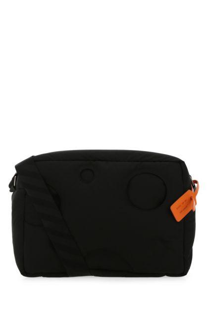Black cotton blend crossbody bag