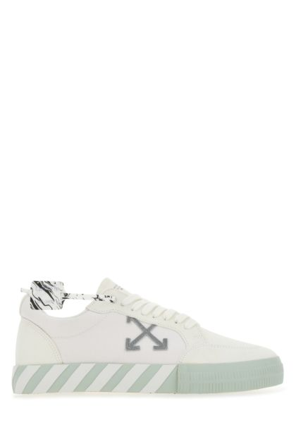 White suede and canvas Vulcanized sneakers