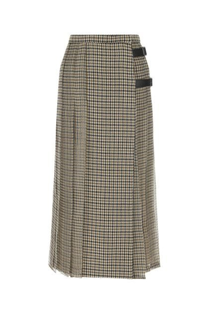 Embroidered wool and silk Norel skirt