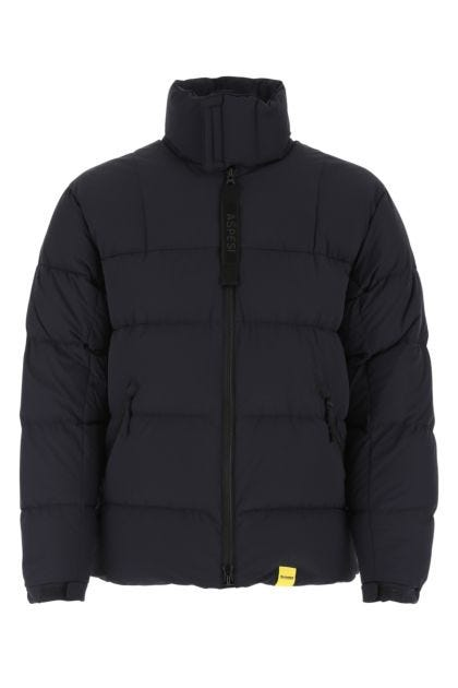 Navy blue stretch nylon down jacket