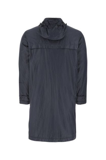 Navy blue nylon padded raincoat