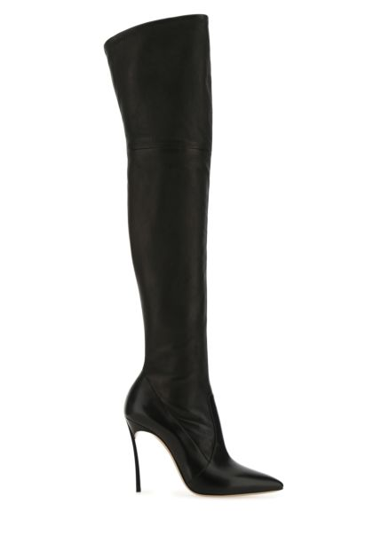 Black nappa leather Blade boots