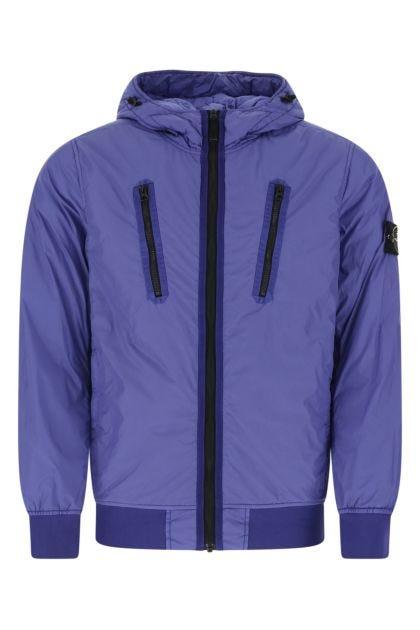 Electric blue nylon jacket