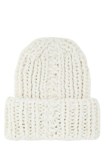 White nylon blend beanie hat