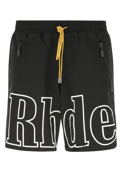 Black nylon bermuda shorts