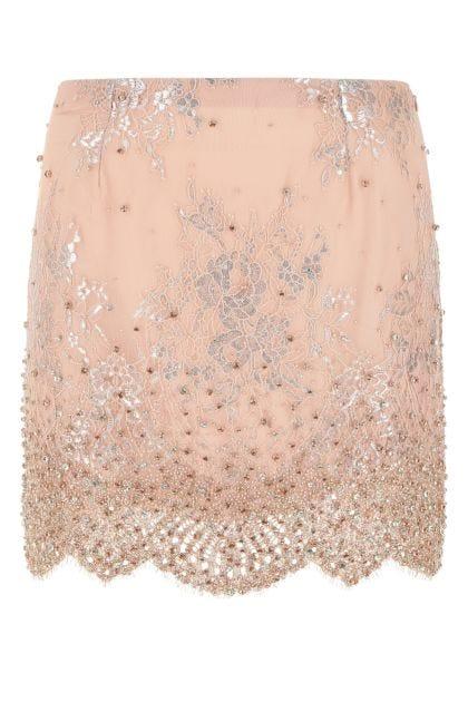 Powder pink stretch tulle mini skirt