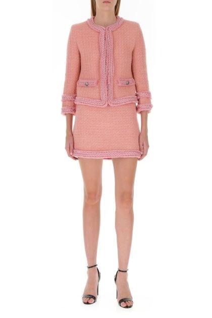 Pink bouclé mini skirt