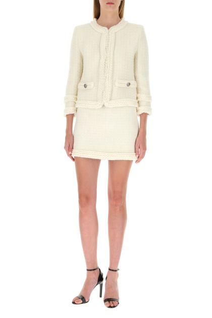 Ivory bouclé mini skirt