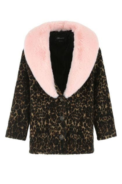Embroidered stretch acetate blend coat