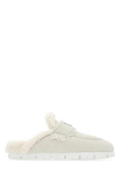 Chalk shearling slippers