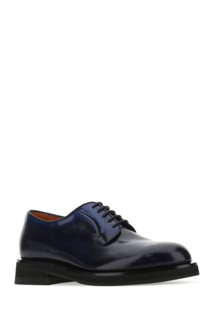 Dark blue leather lace-up shoes