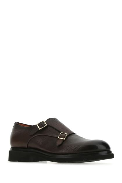 Chocolate leather monk strap shoes