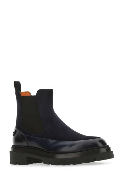 Midnight blue suede ankle boots