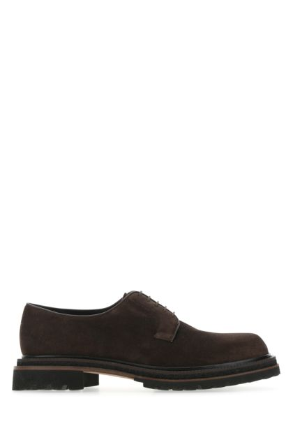 Chocolate suede Kemir lace-up shoes