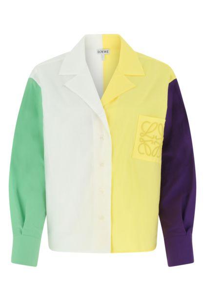 Multicolor cotton blend oversize shirt