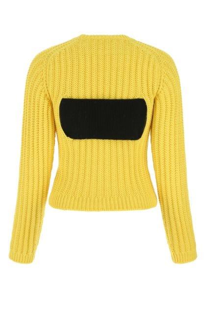 Yellow stretch wool blend sweater