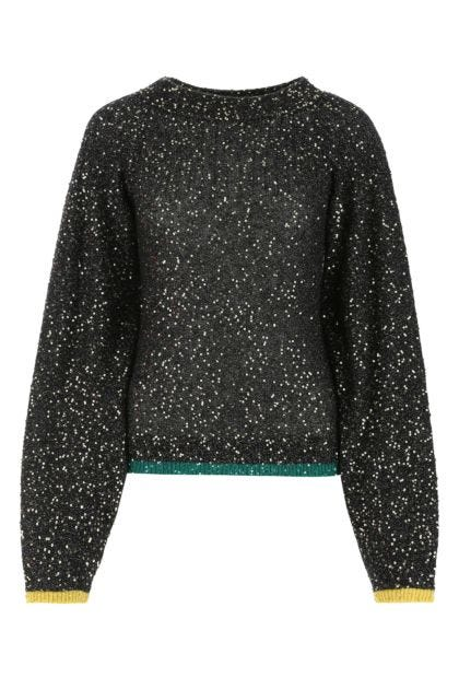 Embellished stretch nylon blend sweater