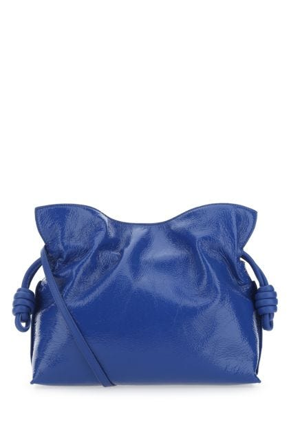 Blue nappa leather Flamenco clutch