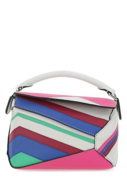 Multicolor leather mini Puzzle Edge Zigzag handbag