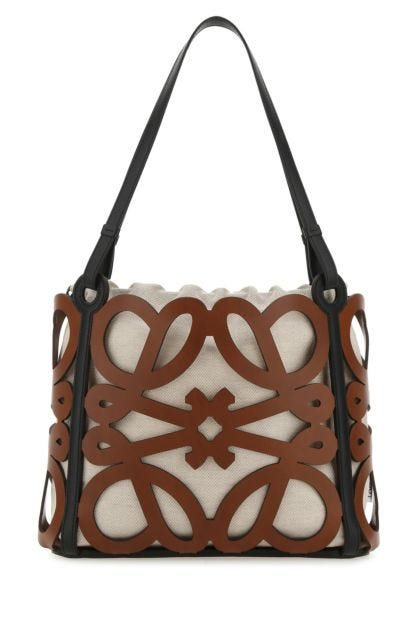 Two-tone leather small Anagram shoulder bag