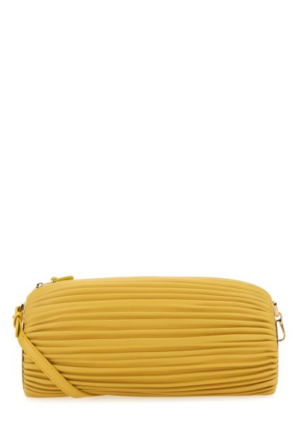 Yellow nappa leather clutch