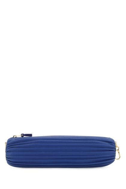 Electric blue nappa leather pouch