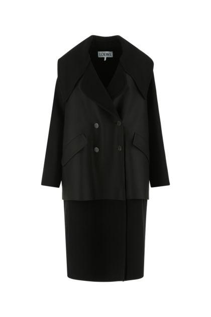 Black wool blend oversize coat