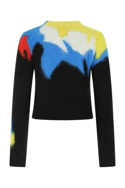 Printed stretch acrylic blend sweater