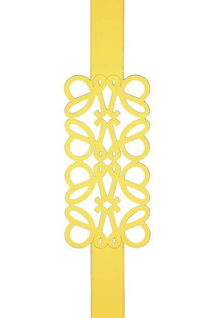 Yellow leather Anagram belt