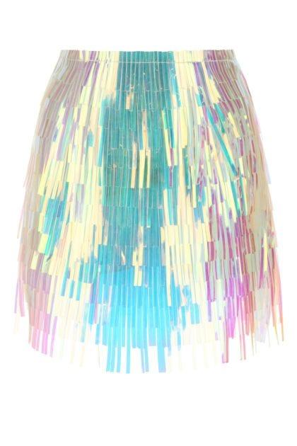 Holographic fringes mini skirt