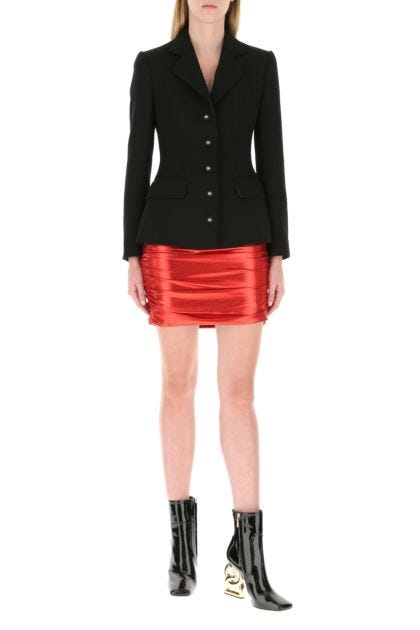 Red stretch lamé skirt
