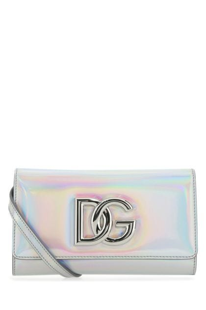 Holographic leather 3.5 clutch