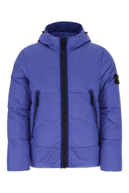 Electric blue nylon down jacket