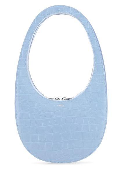 Light blue leather Swipe shoulder bag