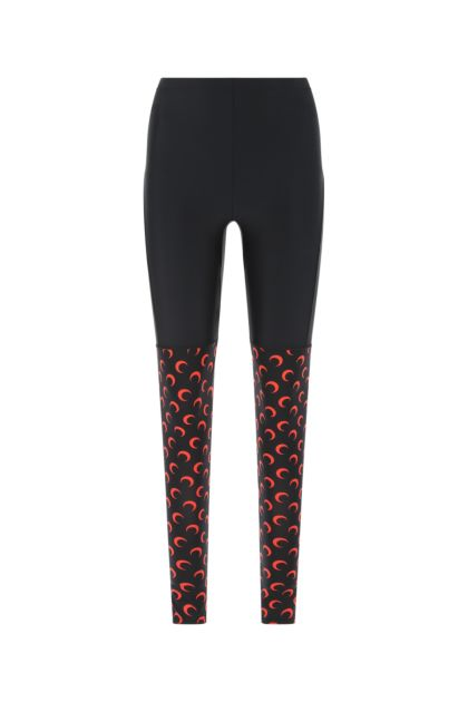 Two-tone stretch nylon leggings