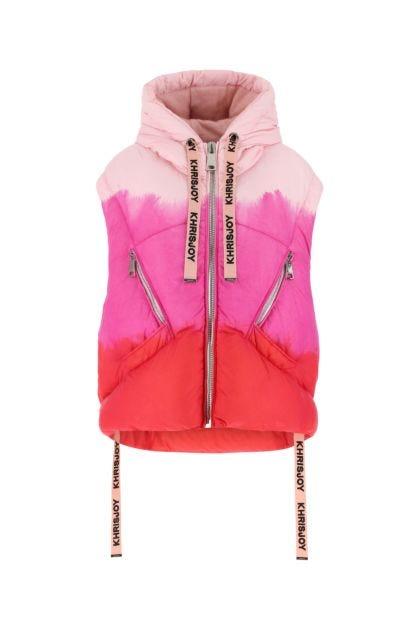 Multicolor nylon sleeveless down jacket