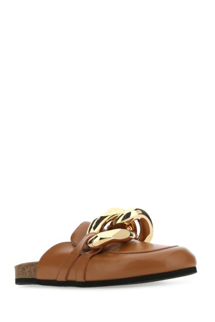 Caramel leather Chain slippers