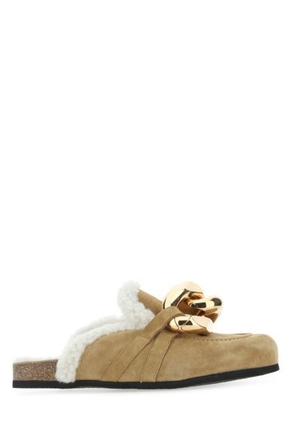 Beige suede Chain slippers