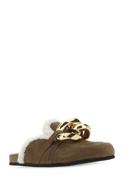 Brown suede Chain slippers