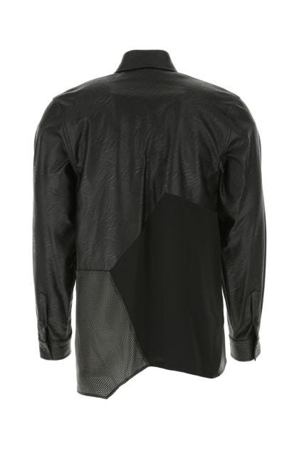 Black synthetic leather and satin shirt