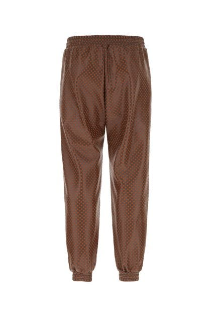 Multicolor polyester and synthetic leather joggers