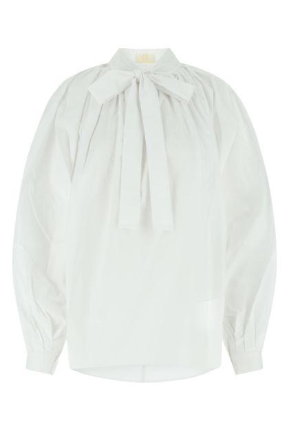 White stretch poplin blouse