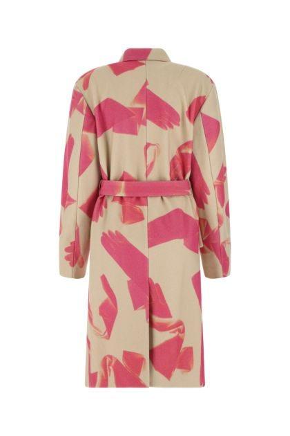 Printed wool blend coat