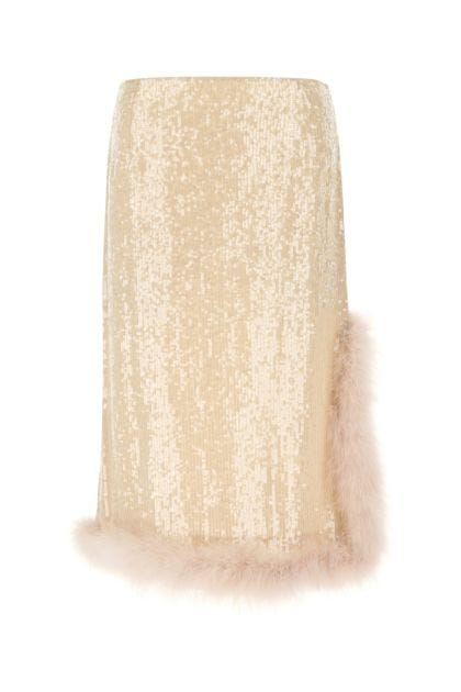 Skin pink sequins skirt
