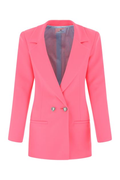 Pink stretch polyester blend blazer