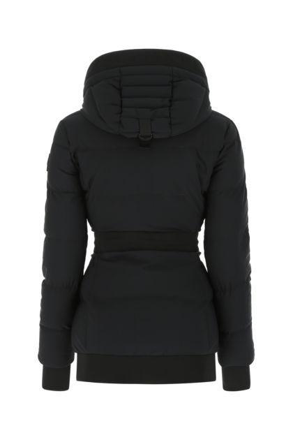 Black nylon blend down jacket