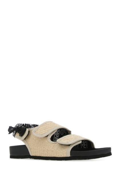 Multicolor raffia and fabric Apache sandals