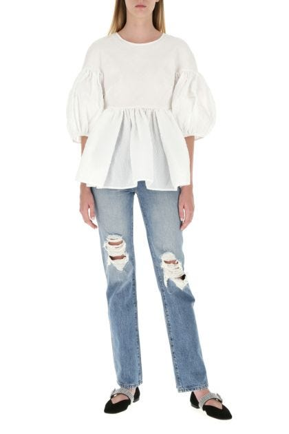 White polyester blend top
