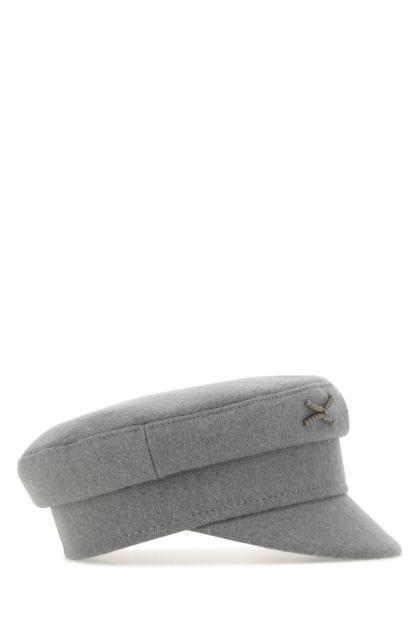 Grey wool blend baker boy hat