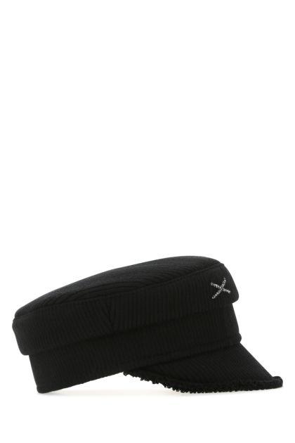 Black cotton blend baker boy hat